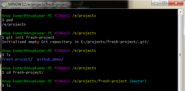git-init-fresh-project