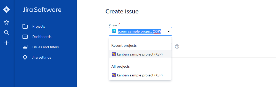 Craete-issue-select-project