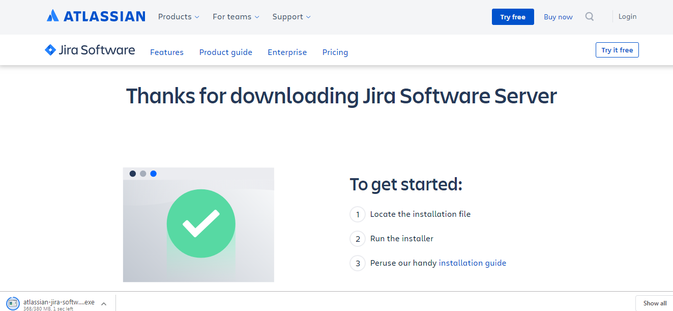 Jira-download-completed