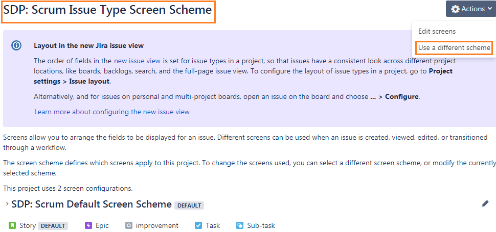 sdp-scrum-default-issue-type-screen-scheme