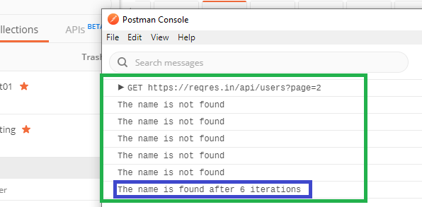 postman-while-console