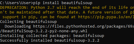 successfully-installed-beautiful-soup