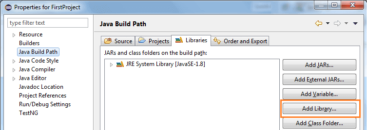 add library selenium webdriver