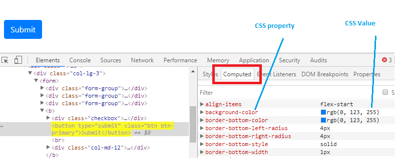 computed css values in selenium webdriver