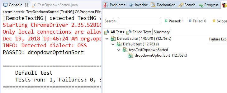 Dropdown values are sorted or not in selenium ?