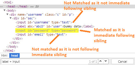 following-sibling-css-selector-selenium