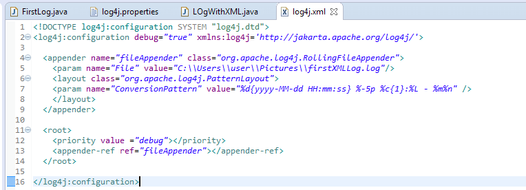 Log4j in Selenium - Java