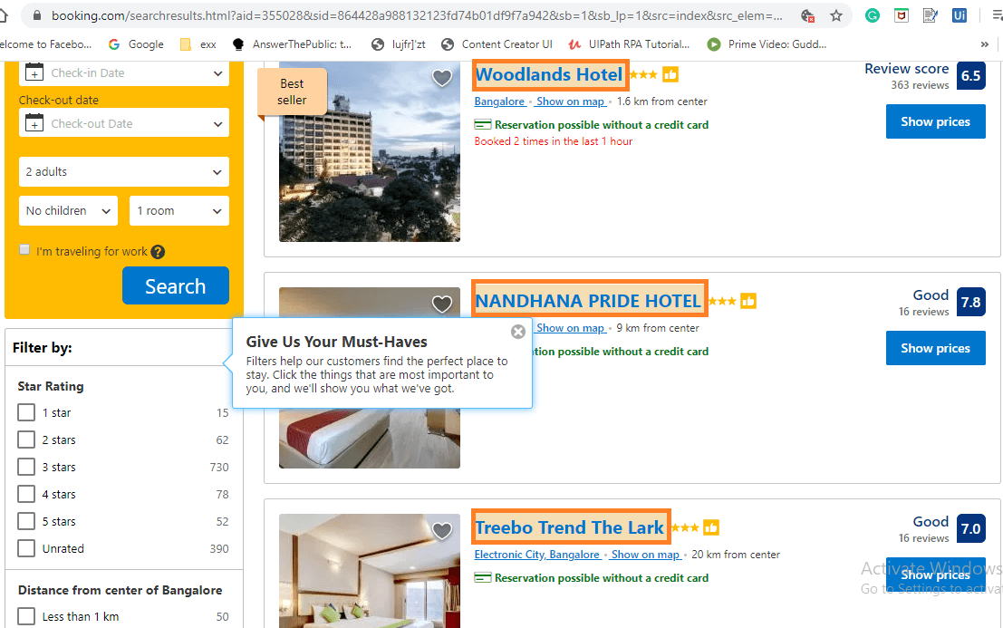 highlighting-all-the-hotel-names-rpa-uipath